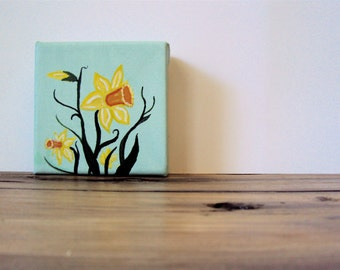 Small Spring Daffodil Painting - Cottage Easter Decor - Original Canvas Flower Painting -  Little Cottage Chic Wall Art - 4 x 4 Narcissus