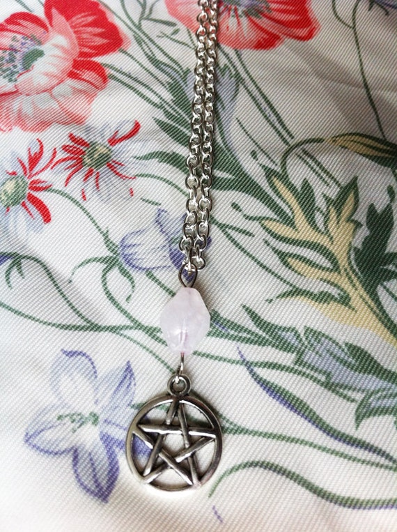 diane. a quartz and pentacle silver chain necklace.