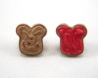 Peanut Butter and Strawberry Jam Stud Earrings, PB and J Posts