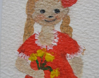 The Red Bow  --  ACEO original painting --  aoteam