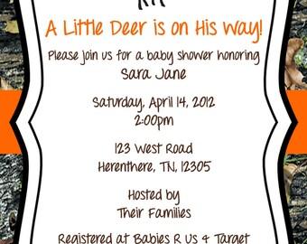 Mossy Oak Baby Shower Invitation Deer