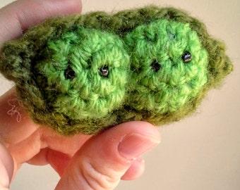 Peas in a Pod Crochet Green Stuffed Toy Amigurumi