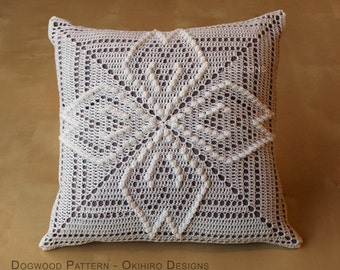"""Dogwood Pattern 12"""" Crochet Square Pillow -  READY TO SHIP - Double Sided design"""