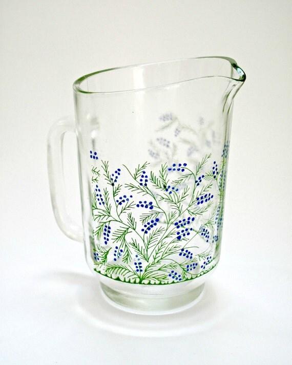 Vintage Floral Glass Jug
