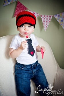 Baby boy Valentine s Day tie one piece bodysuit crochet
