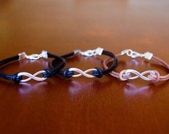 Infinity Charm Leather Bracelet