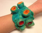 Wet Felted Shibori Crater Cuff, Tentacle, Coral, Texture, Chunky, Unique.