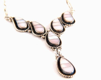 Silver Zuni Necklace - Vintage Sterling Silver and Mother of Pearl Zuni Necklace