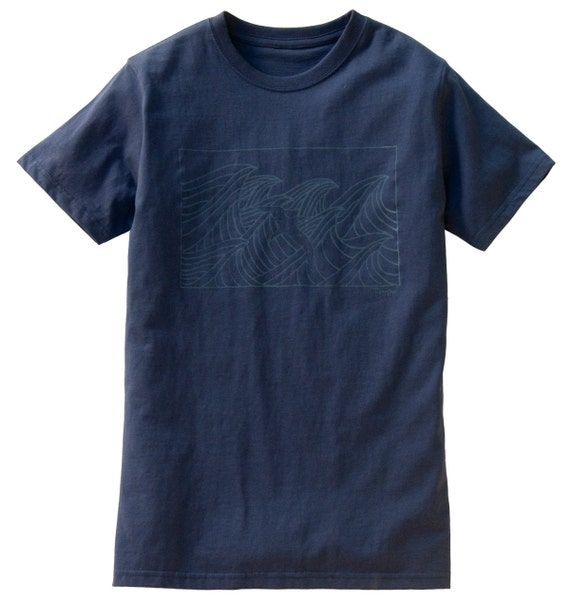 Organic Cotton Waves Unisex Shirt (Blue on Blue)
