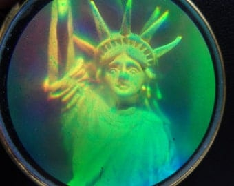 Lady Liberty 3D Glass Hologram Pendant and Extra Long 54 Inch Red White and Blue Gold Disk Necklace