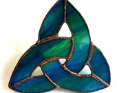 green blue stained glass celtic knot; st patricks pride;  friend, mother father, birthday christmas holiday stocking stuffer gift idea