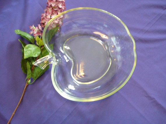 Glass apple shaped clear bowl 9X10X3in.tall