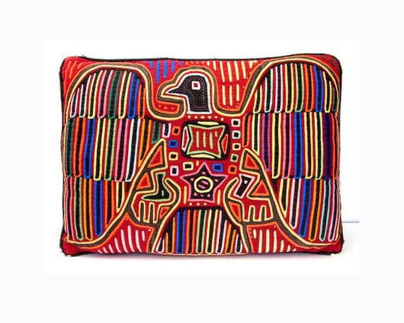 Vintage Bright Throw Pillow Mola Eagle Pillow Antique Primitive Folk Art Tribal Textile Applique