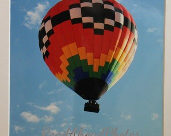 5x7 photo of Hot Air Balloon in the Clouds: blue sky, New Mexico