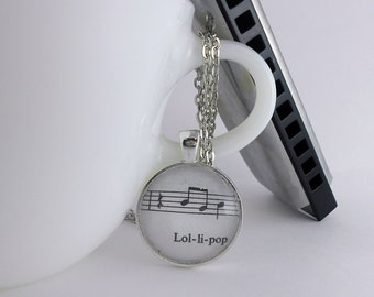 Lolipop Music Notes Pendant Necklace in Silver on 18 inch chain