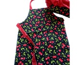 Child's Chef Apron and Hat Set -- Cherry Print