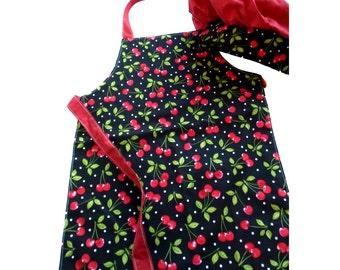 Child's Chef Apron and Hat Set -- Cherry Print