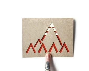 Laser Cut Card: MODERN TRIBAL MOUNTAINS--custom color + message
