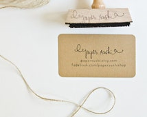 """Business Card Stamp - Custom 2 3/4"""" Business Card or Etsy Shop Stamp for business cards and shop packaging - L0023"""