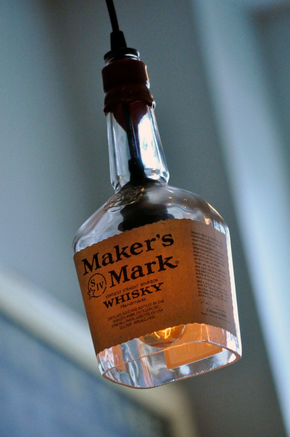 Recycled Maker S Mark Whiskey Bottle Pendant Lamp With