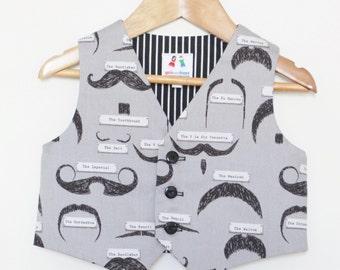 Children clothing - Boys clothing grey moustache waistcoat - szes 6mo, 1 yr, 2yrs, 3 yrs, 4yrs, 5 yrs - children clothing vest girlsandboys