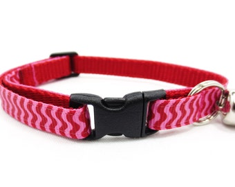 Pink and Red Chevron Cat Collar