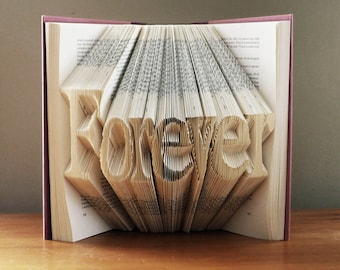 Custom Boyfriend Girlfriend Gift - Folded Book Art - Wedding Table Decor- Forever - Personalized - Paper Anniversary  Gift - 7 Letters