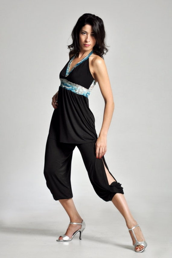 Argentine Tango Babucha Pants With Side Slits Black