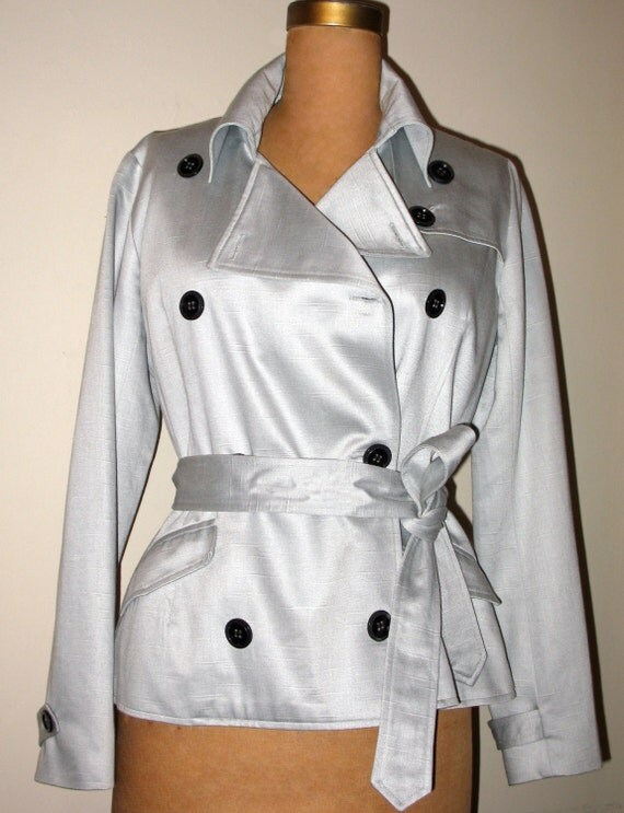 SALE. Classic Trench Coat in Silvery-Grey Shantung Sateen. by 'green' of kaj.ani    Women's Trench-Coat