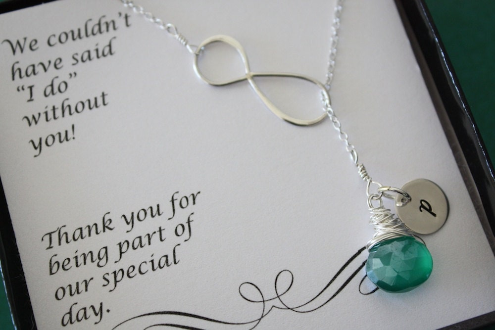 Silver Wedding Gifts For Friends : ... friend Gift, Thank You Card, Gemstone, Sterling Silver Initial Charm