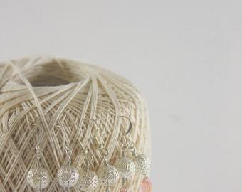 Silver Filigree Earrings, Glass Briolette Earrings, Pink Earrings, Blue Earrings, Clear earrings