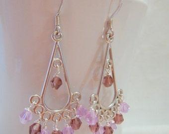 Purple Chandelier Earrings, Crystal Earrings, Silver Earrings