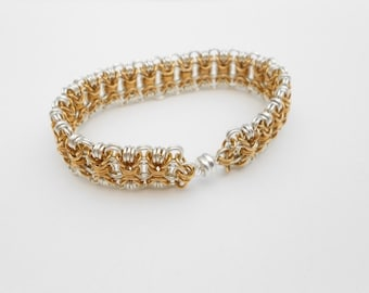 Gold and Silver Chainmaille Bracelet, Mixed Metal, Silver and Bronze, Chainmail, Cuff Bracelet