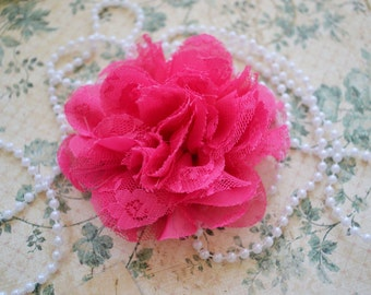 Hot Pink Large Shabby Shredded Lace Flower, Set of One, Fabric Flower, DIY Applique.