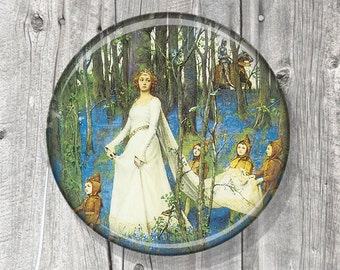 Pocket Mirror - Fairies - Photo Mirror - Compact Mirror Vintage Fairy Illustration - gift under 5 - party favor A35