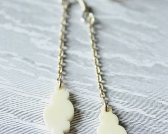 Cloud earrings - polished bone and sterling silver
