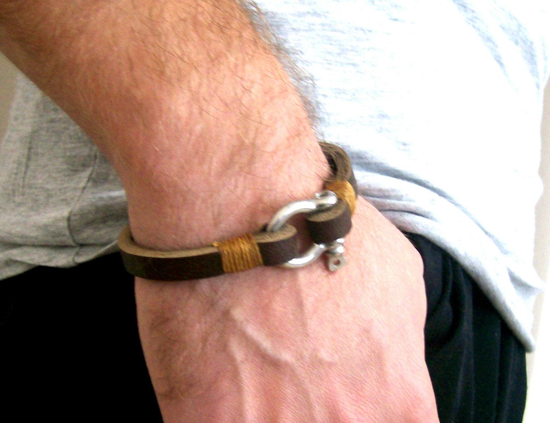 Brown Mens Bracelet Silver Leather Bangle Shackle Clasp Mens