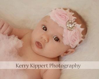 15% off, Baby Bows, Flower Headband in Light Pink, Baby Headbands, Child Bow, bows, Flower Headband, Baby Girl Headband, newborn headband