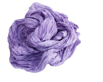 Lavender Field - lavender, liliac, light purple  silk ruffled scarf