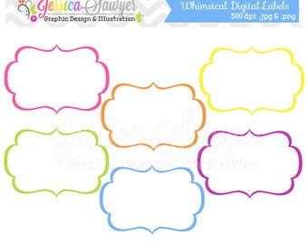 INSTANT DOWNLOAD,  whimsical labels - tag clipart - printable labels - rainbow - cards - invitations - scrapbook - digital frames
