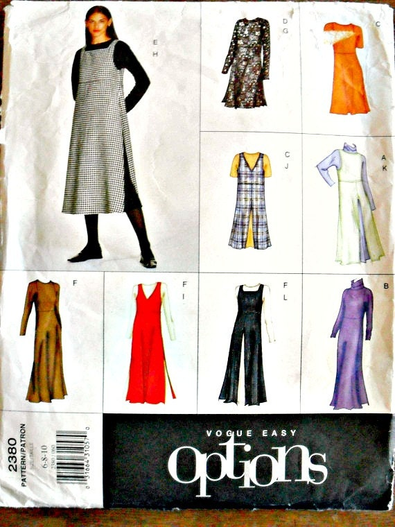 Misses A-Line Dress With Neckline Variations and Overdress Jumper Sewing Pattern Vogue Easy Options 2380 Size 6 8 10