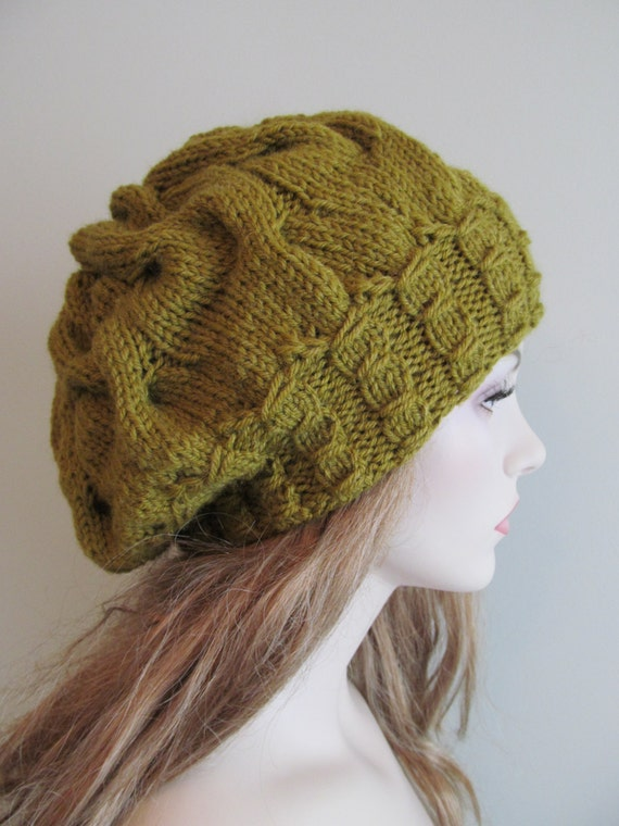 Oversized Beret Knitting Pattern : Hand Knit Slouchy Hats Oversize Berets Baggy Beanie by Lacywork
