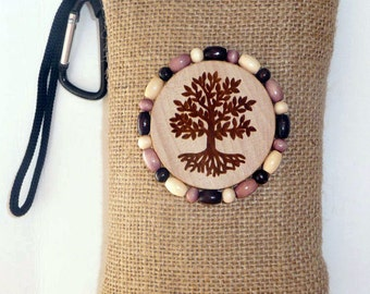 Hemp padded pipe pouch with wood burned and beaded accent / Tee of Life