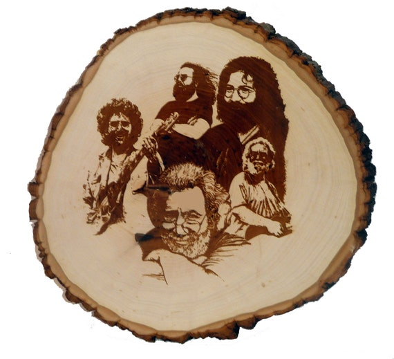 """Handmade wood burned plaque /  """"Faces of Jerry"""""""