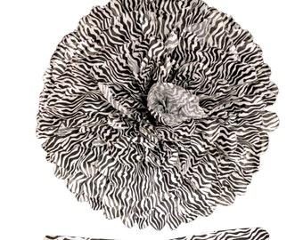 Zebra Tissue Pom Pom - Set of 2 - Zebra Party Decor, Pom Ceiling Decorations, Event Decoration