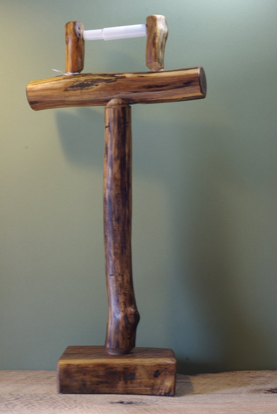 Rustic Black Walnut Free Standing Toilet Paper Holder By