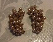 Pearl Earrings Cluster of Pearls Clip On Earrings