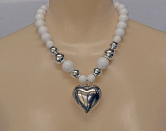 Vintage Necklace Heart Silver Tone and Beads