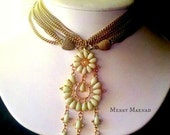 Yellow Kundan Pendant and Earring Set on Multistrand Brass Chains. Womens Demi Parure Jewelry Set