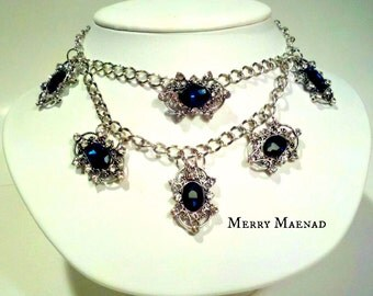 Double layer choker necklace - Blue Ice - silver chain with blue and clear rhinestone. OOAK Women's jewelry